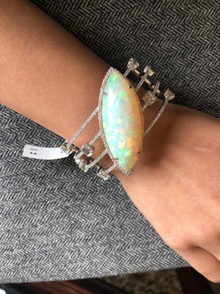 Art Deco Set in 18K white gold, Marquise Ethiopian Opal & Rose Cut Diamond Cuff Bracelet For Sale