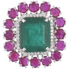 Set in 18k White Gold, Natural Zambian Emerald and Mozambique Ruby Cocktail Ring