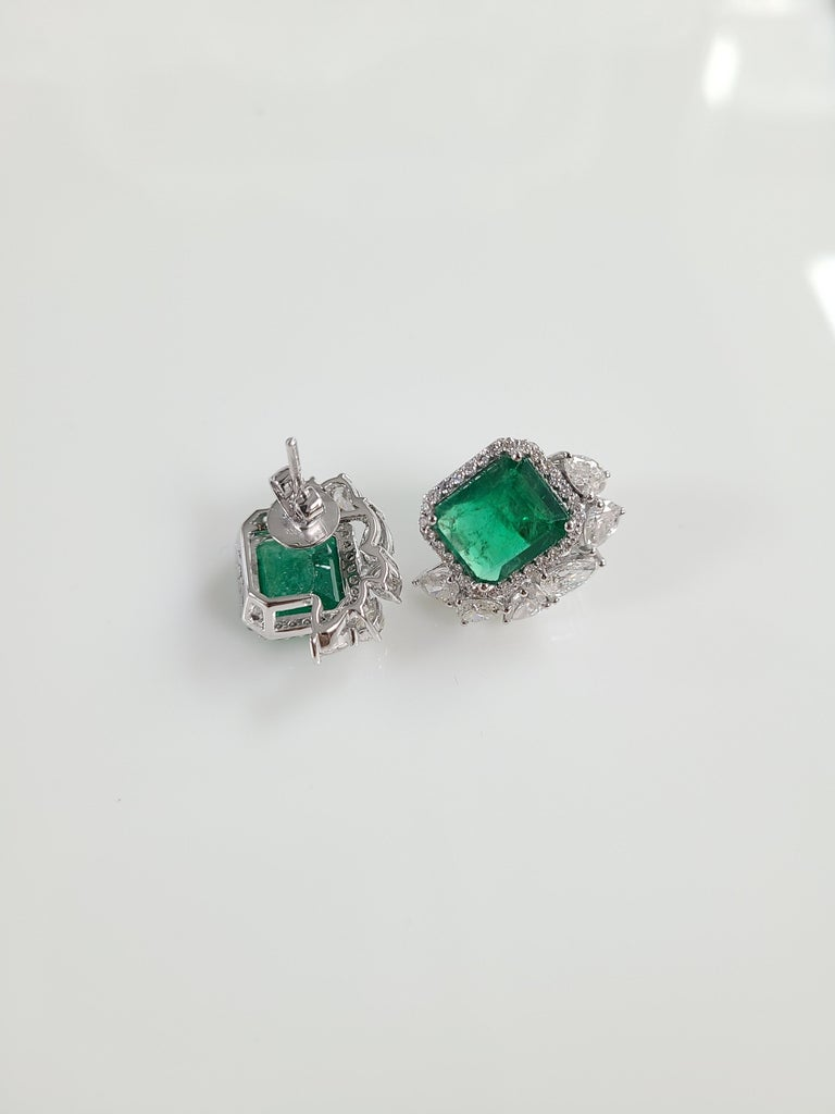Emerald Cut 18 Karat White Gold Natural Zambian Emeralds Studs with Diamonds For Sale