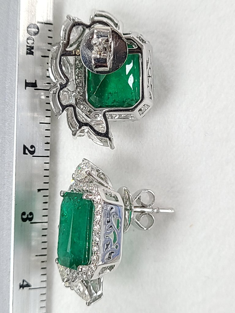 Women's 18 Karat White Gold Natural Zambian Emeralds Studs with Diamonds For Sale