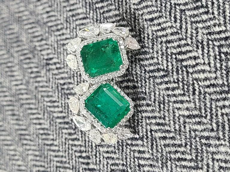 18 Karat White Gold Natural Zambian Emeralds Studs with Diamonds For Sale 4