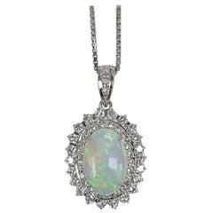 Set in Platinum PT 900 Australian Opal Pendant