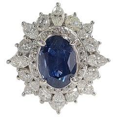 Platinum PT900 Blue Sapphire Ring with Diamonds
