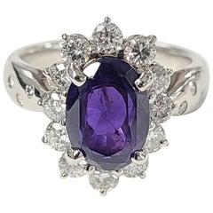 Platinum PT900 Purple Sapphire Ring with Diamonds