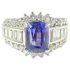 Platinum PT900 Tanzanite Diamond Ring