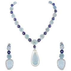 Set in White 18k Gold, Carved Aquamarine,Tanzanite Beads & Diamonds Necklace Set