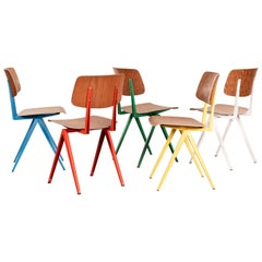 Set Industrial Galvanitas S16 Dining Chairs in Primary Colors, Netherlands