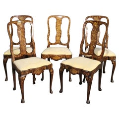 Set 5 Inlaid Satinwood Walnut Dutch Marquetry Dining Side Chairs, circa 1890s
