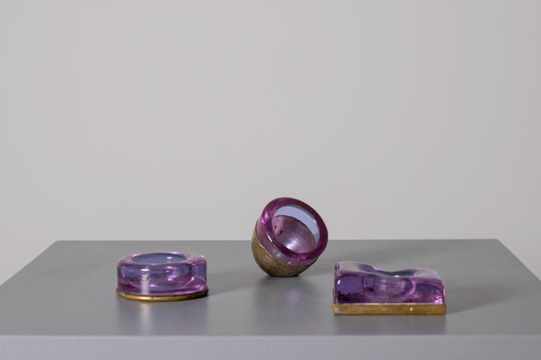Set of Italian Candleholder Midcentury in Brass and Purple Amethyst Stone, 1950s In Good Condition In Milano, IT