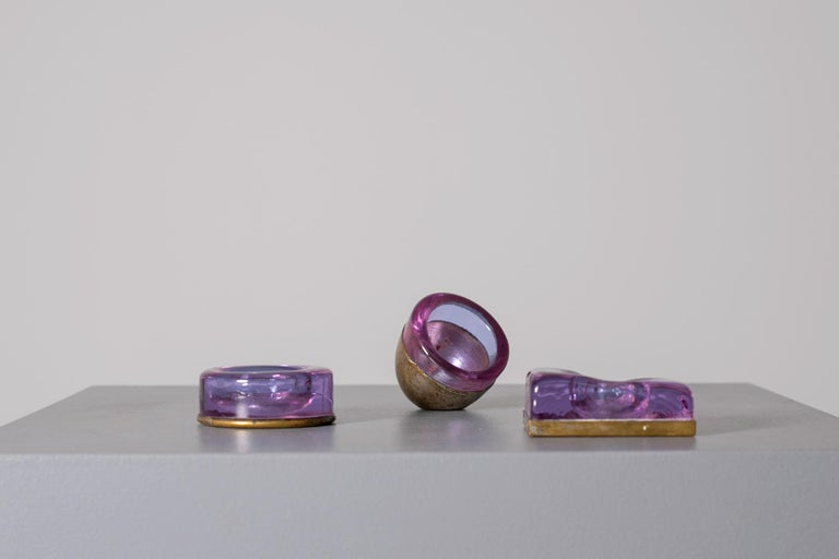 Mid-20th Century Set of Italian Candleholder Midcentury in Brass and Purple Amethyst Stone, 1950s