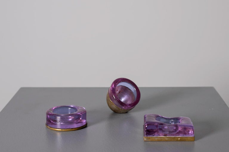 Set of Italian Candleholder Midcentury in Brass and Purple Amethyst Stone, 1950s 1