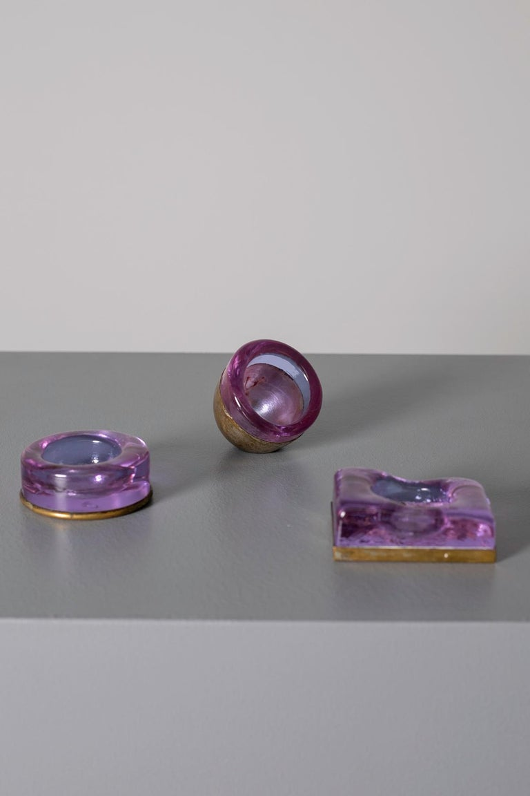 Set of Italian Candleholder Midcentury in Brass and Purple Amethyst Stone, 1950s 2