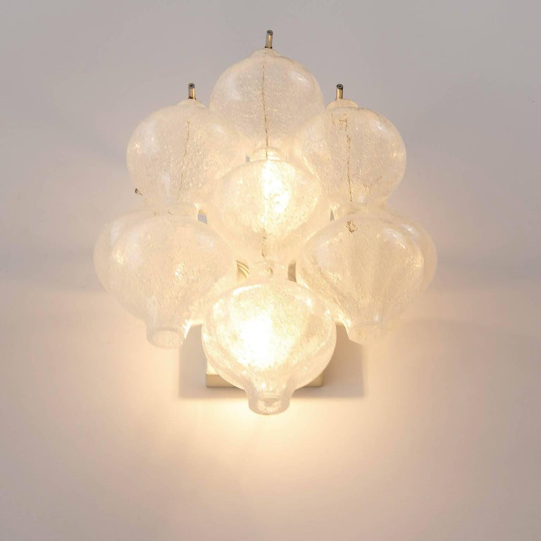Set Kalmar Chandelier and Pair of Sconces Wall Lights 'Tulipan' Glass Brass 1970 For Sale 9
