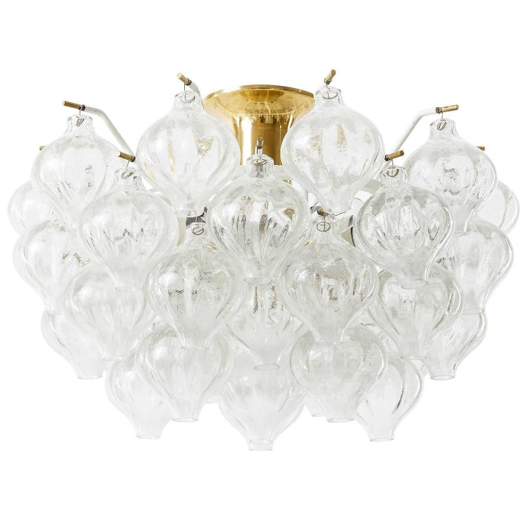 Enameled Set Kalmar Chandelier and Pair of Sconces Wall Lights 'Tulipan' Glass Brass 1970 For Sale