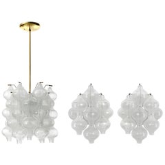 Set Kalmar Chandelier Pendant Light and Pair Sconces 'Tulipan' Glass Brass, 1970