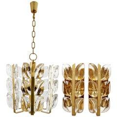 Set Kalmar 'Florida' Pendant Light and Sconces Wall Lights, Brass Glass, 1970s