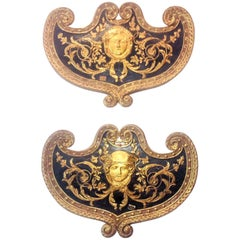 Set Large Paint and Giltwood Shield Form Overdoor Appliques with Classical Faces