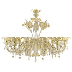 Set Luxury Chandelier 12 Arms and 4 Sconces 5 Arms Rezzonico Clear and Gold