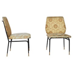 Set Metal Chairs in Silk Fabric, Italy, 1950s