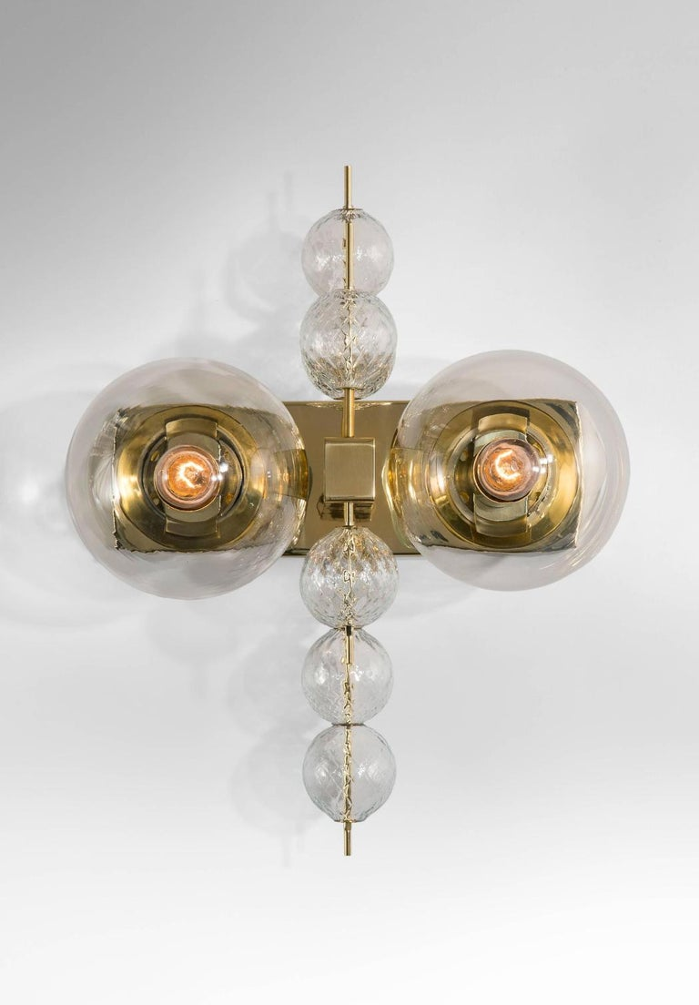 Mid-Century Modern Set Midcentury Hotel Wall Chandeliers with Brass Fixture, European, 1970s For Sale