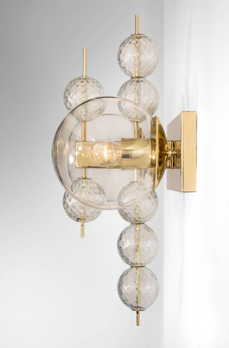 Set Midcentury Hotel Wall Chandeliers with Brass Fixture, European, 1970s In Good Condition For Sale In Almelo, NL