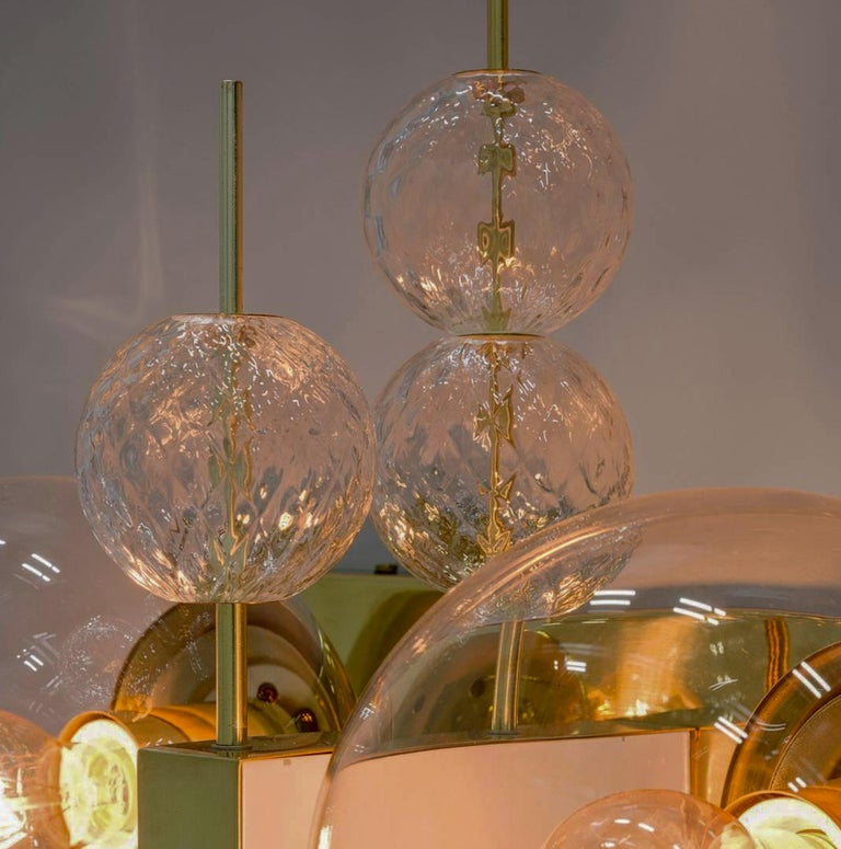 20th Century Set Midcentury Hotel Wall Chandeliers with Brass Fixture, European, 1970s For Sale