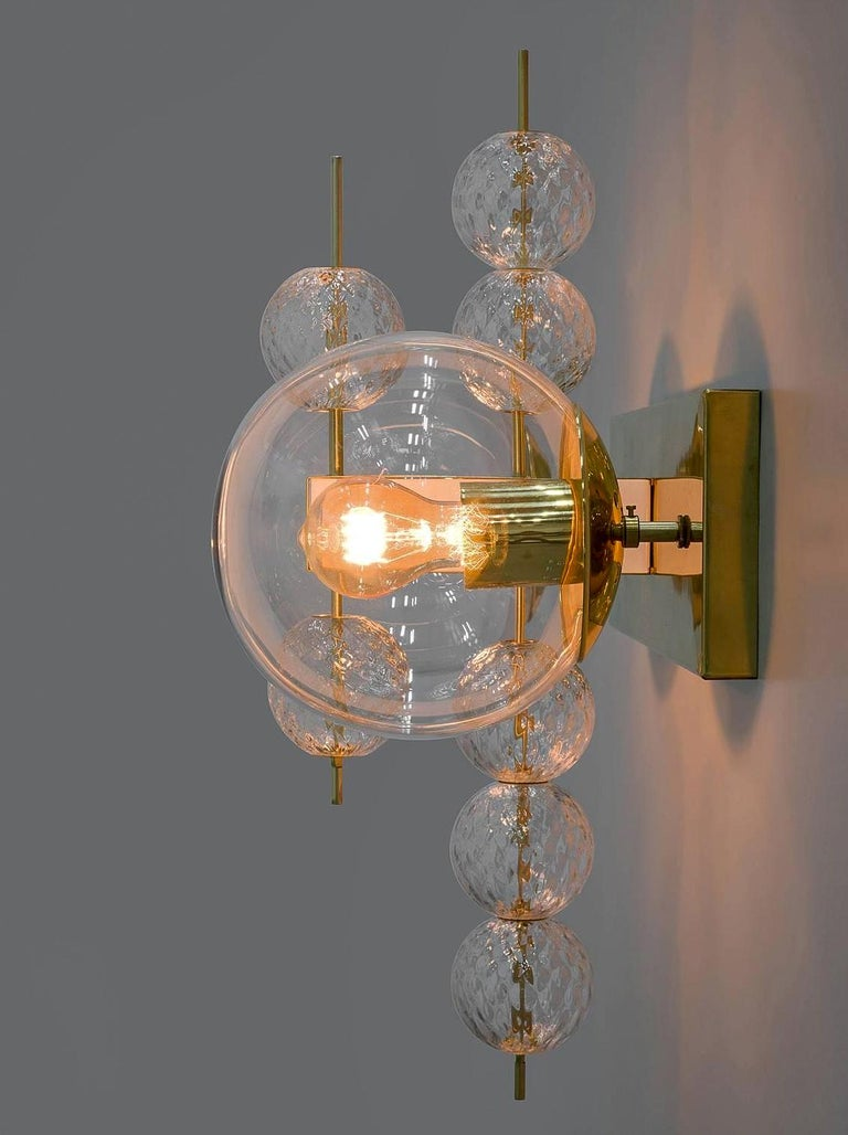 Set Midcentury Hotel Wall Chandeliers with Brass Fixture, European, 1970s For Sale 1