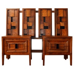 Set Mid-Century Modern Brutalist Walnut Burl Veneer Bed Stands & Queen Headboard