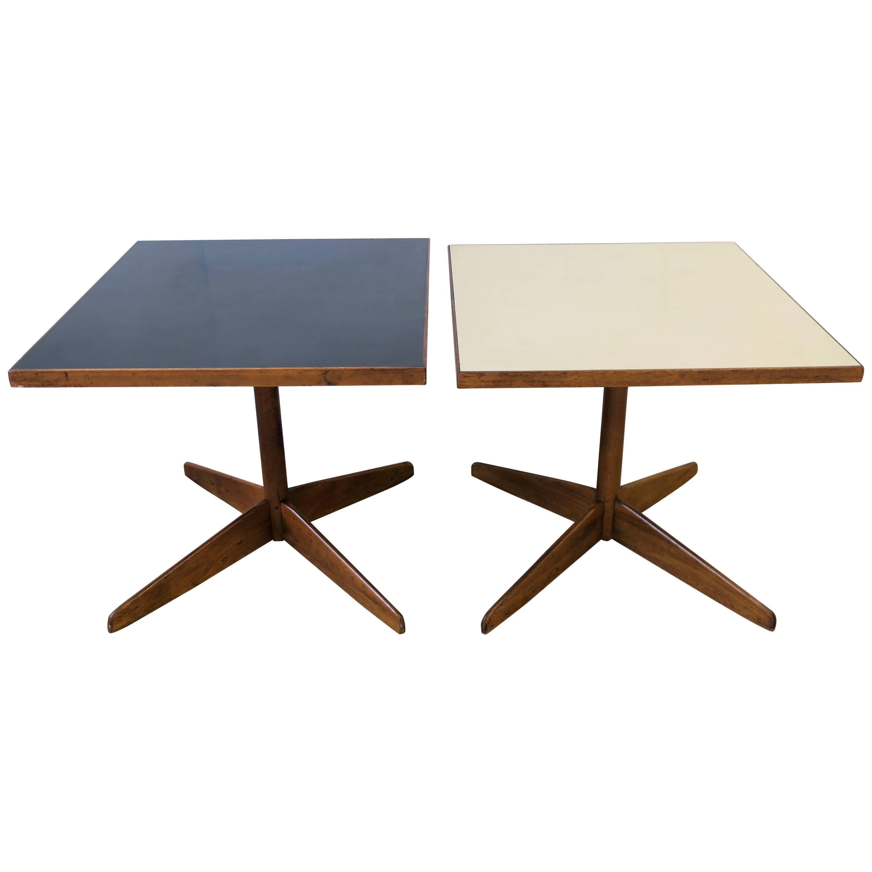 Midcentury Modern Wood Side or End Tables, Pair