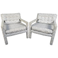 Set Midcentury Upholstered Armchairs