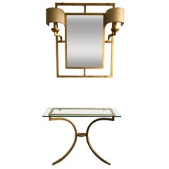 Set Mirror Console Gold Leaf by Robert and Roger Thibier, France, 1960s