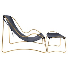 Set Modern Chaise Lounge and Footstool Aged Brass Steel and Navy Saddle Leather