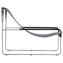Set Modern Chaise Lounge and Footstool, Silver Steel and Blue Leather