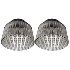 Set Modern Wall/ceiling Lights with Clear Structured Glass Porcelain Base 1960s