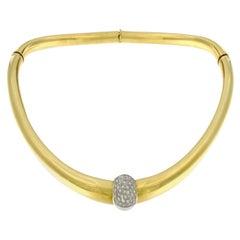 Set Necklace Bangle and Ring Yellow 18 Karat Gold and Diamonds