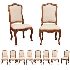 Set of Ten 18th Century Italian Rococo Walnut Dining Chairs