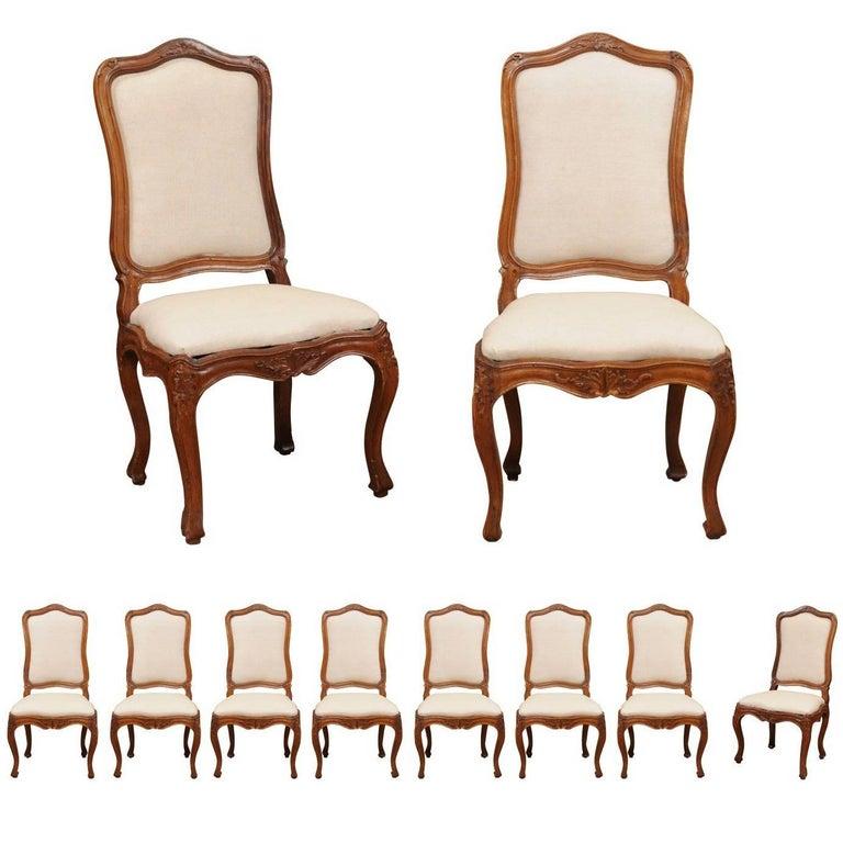 Set of Ten 18th Century Italian Rococo Walnut Dining Chairs