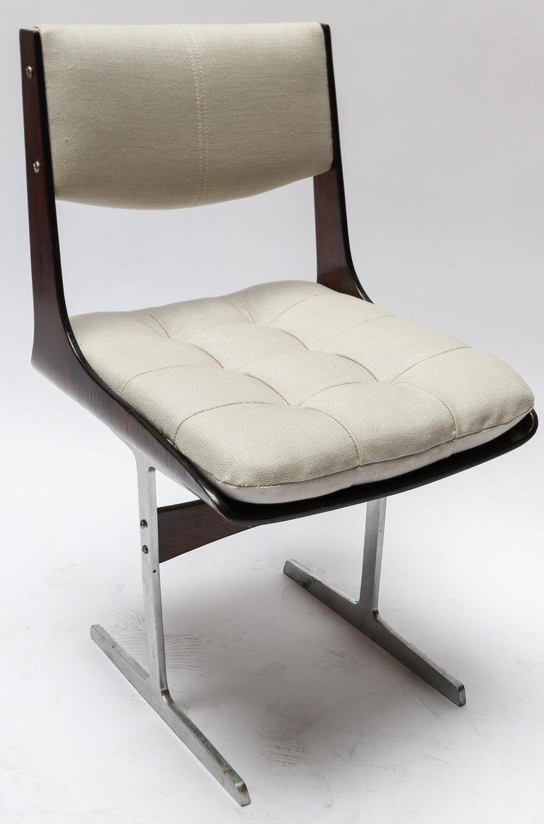 Mid-20th Century Set of 10, 1960s Brazilian Jacaranda Tufted Dining Chairs in Beige Linen For Sale