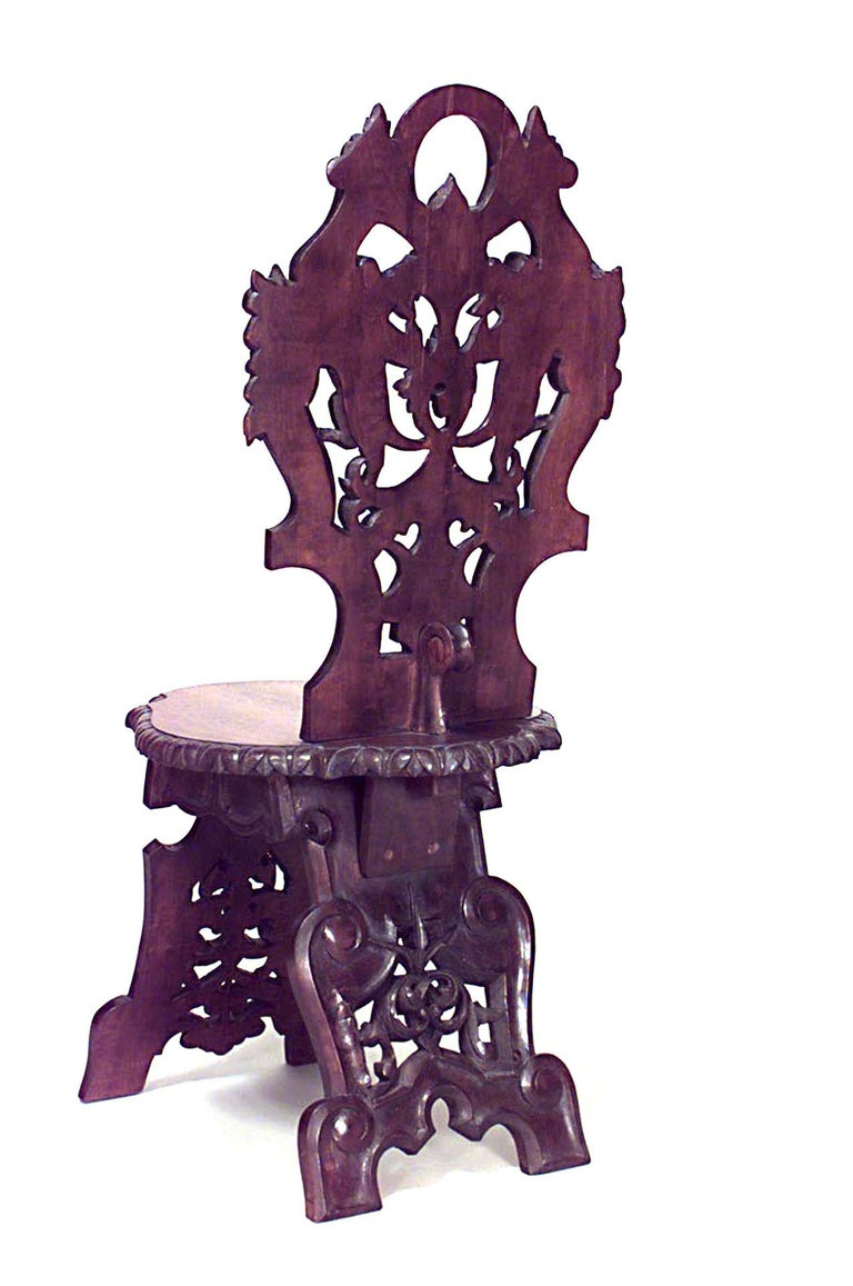 European Set of 10 19th c. Rustic Black Forest Walnut Side Chairs  For Sale