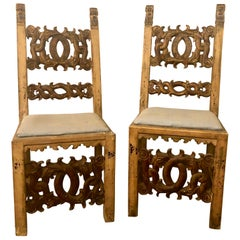 Set of 10 19th Century Italian Renaissance Revival Carved Dining Chairs & Table