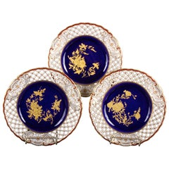 Set of 10, 19th Century Wedgwood Queensware Cobalt and Gilt Plates