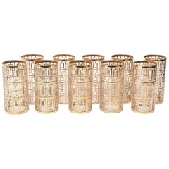 Set of 10 22 Carat Gold Overlay Shoji Screen Highball Glasses / Barware