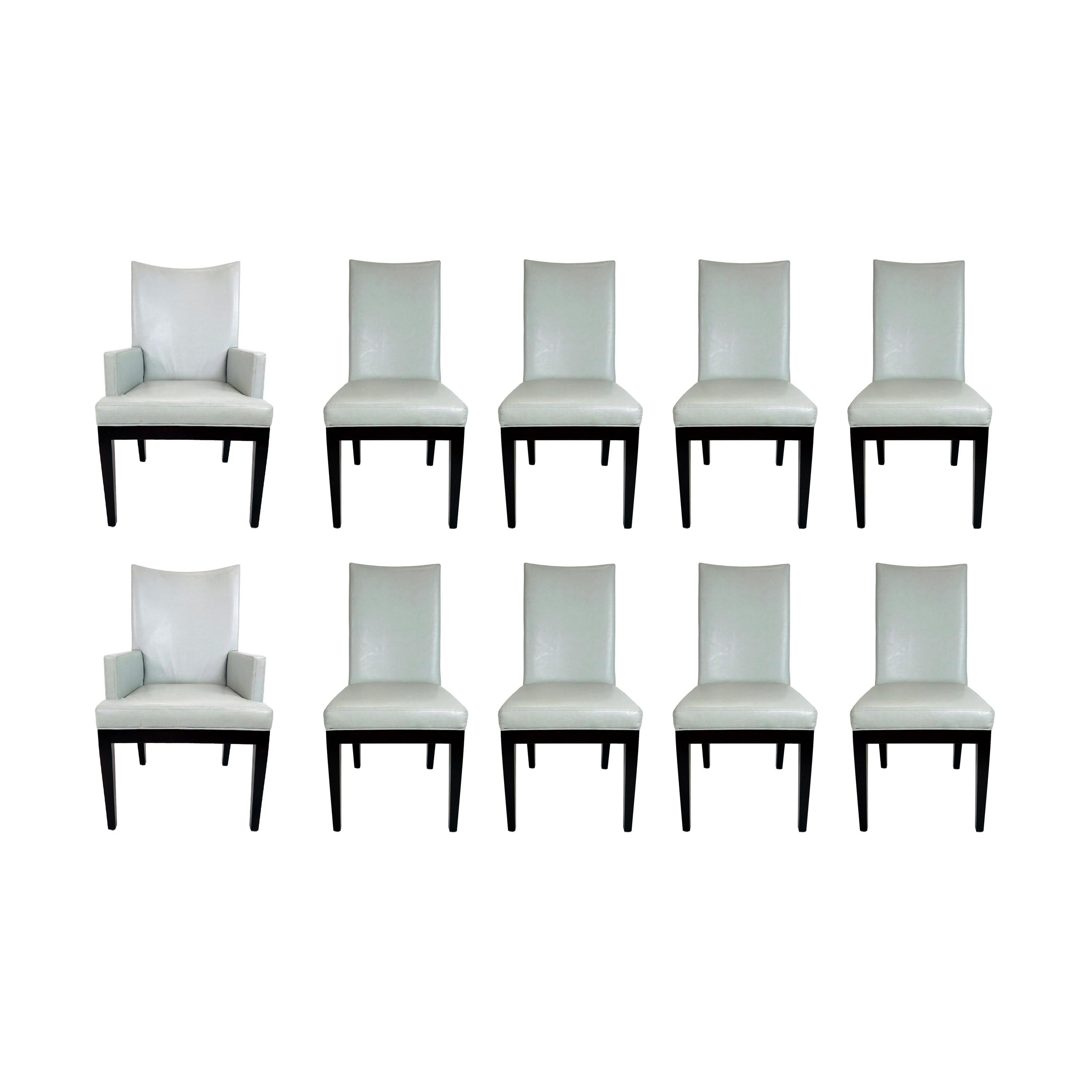 Set of 10 A. Rudin Faux Snakeskin Dining Chairs