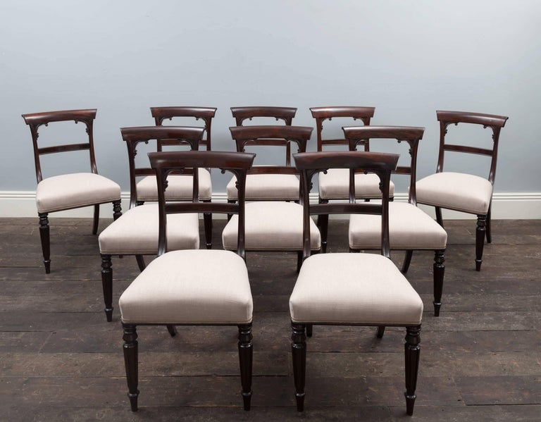 Irish Set of 10 Antique Dining Chairs For Sale