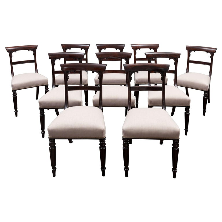 Set of 10 Antique Dining Chairs For Sale