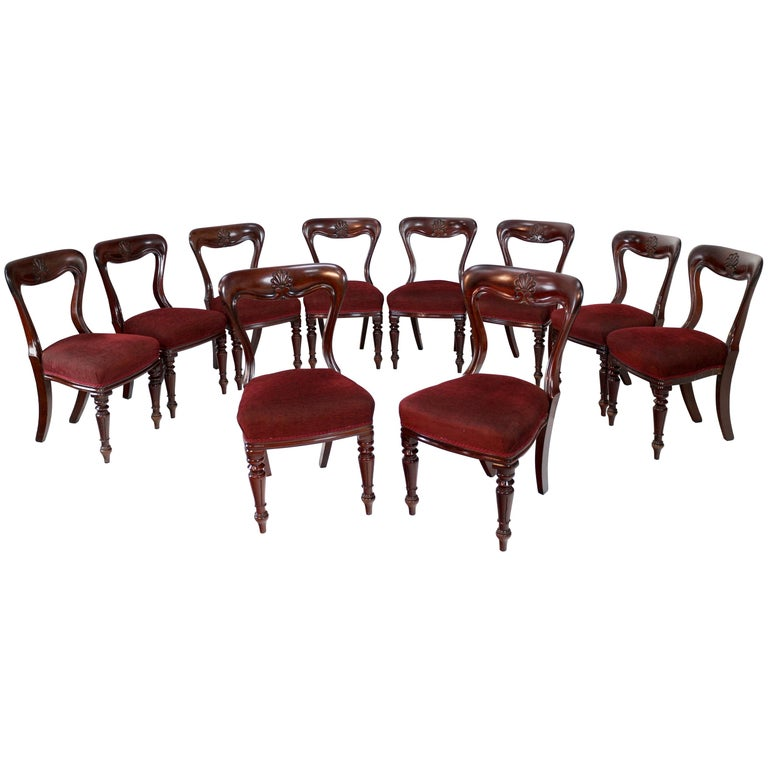Set of 10 Antique English William IV Mahogany Dining Chairs by J Proctor For Sale