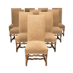 Set of 10 Antique French Louis XIII Style Os de Mouton Dining Side Chairs