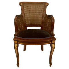 Set of 10 French Louis XVI Mahogany Gold Bronze Dining Chairs, circa 1880