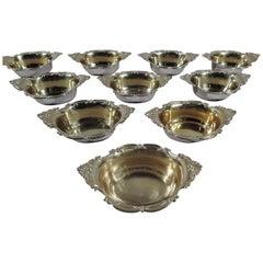 Set of 10 Antique Gorham Edwardian Sterling Silver Nut Dishes