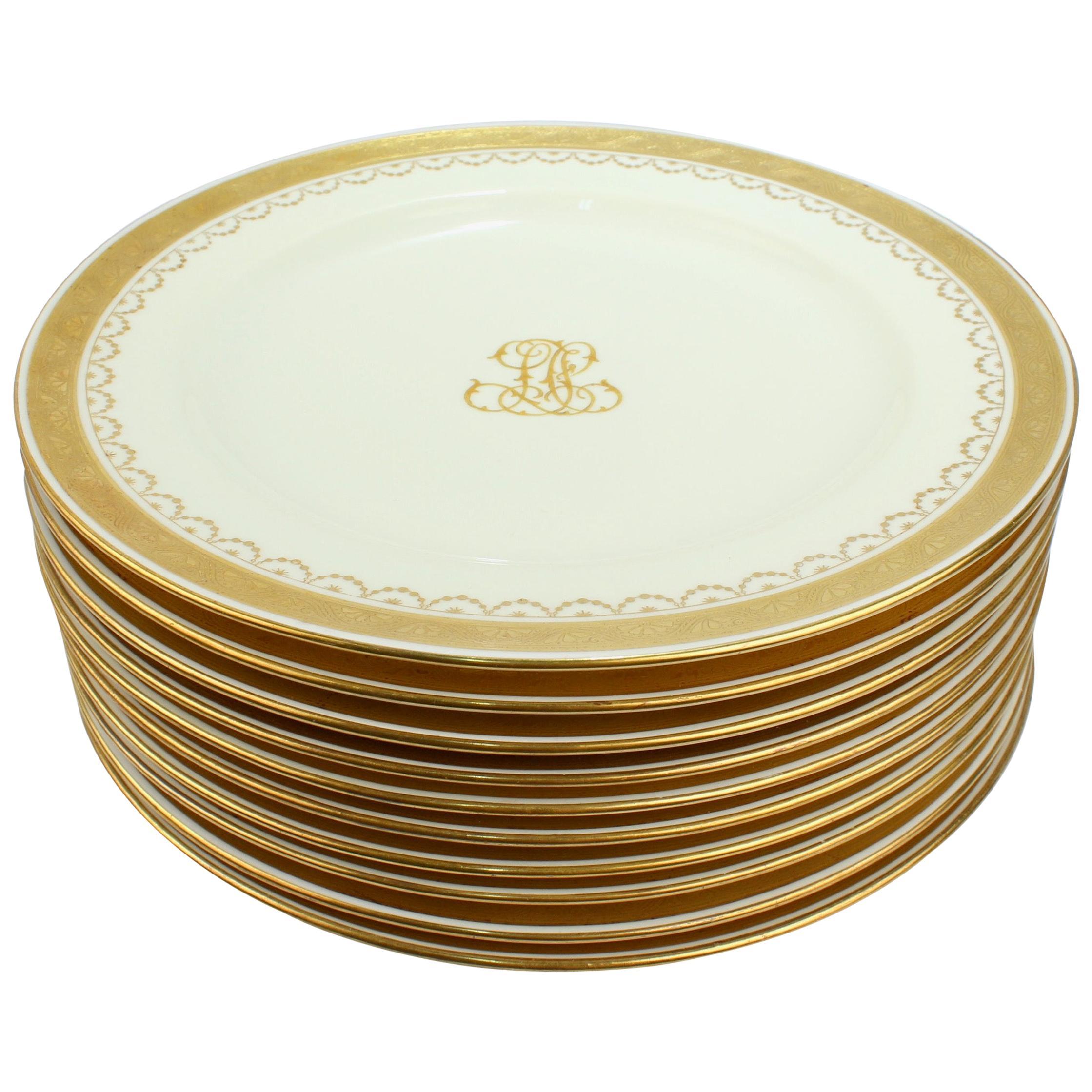 Set of 10 Antique Mintons Porcelain Gilt Bordered and Monogramed Dinner Plates